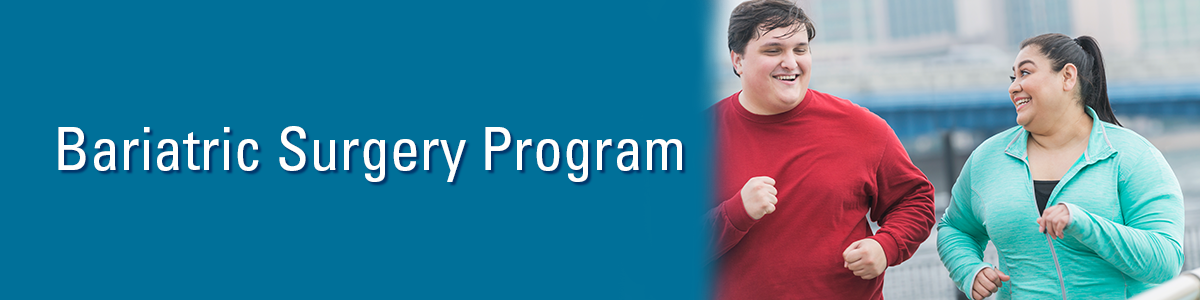 Overweight man wearing red sweatshirt and overweight woman wearing aqua zip-up sweatshirt running with text: Bariatric Surgery Program