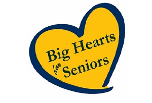"""Drawn gold heart with blue outline with text """"Big Hearts for Seniors"""" inside heart"""