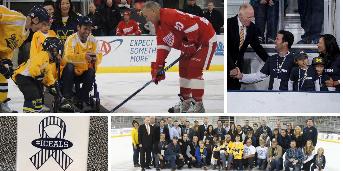 Collage of hockey photos related to Ice ALS