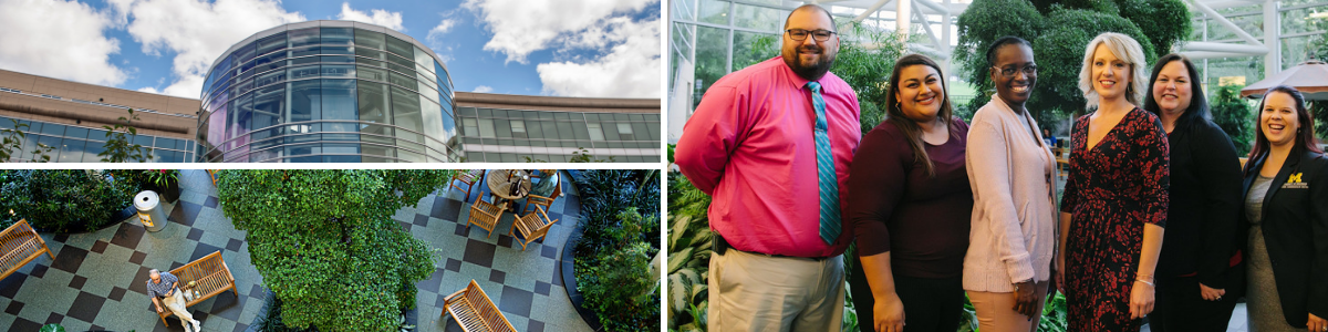 Collage of Indoor and outdoor views of Frankel Cardiovascular Center and Call Center team