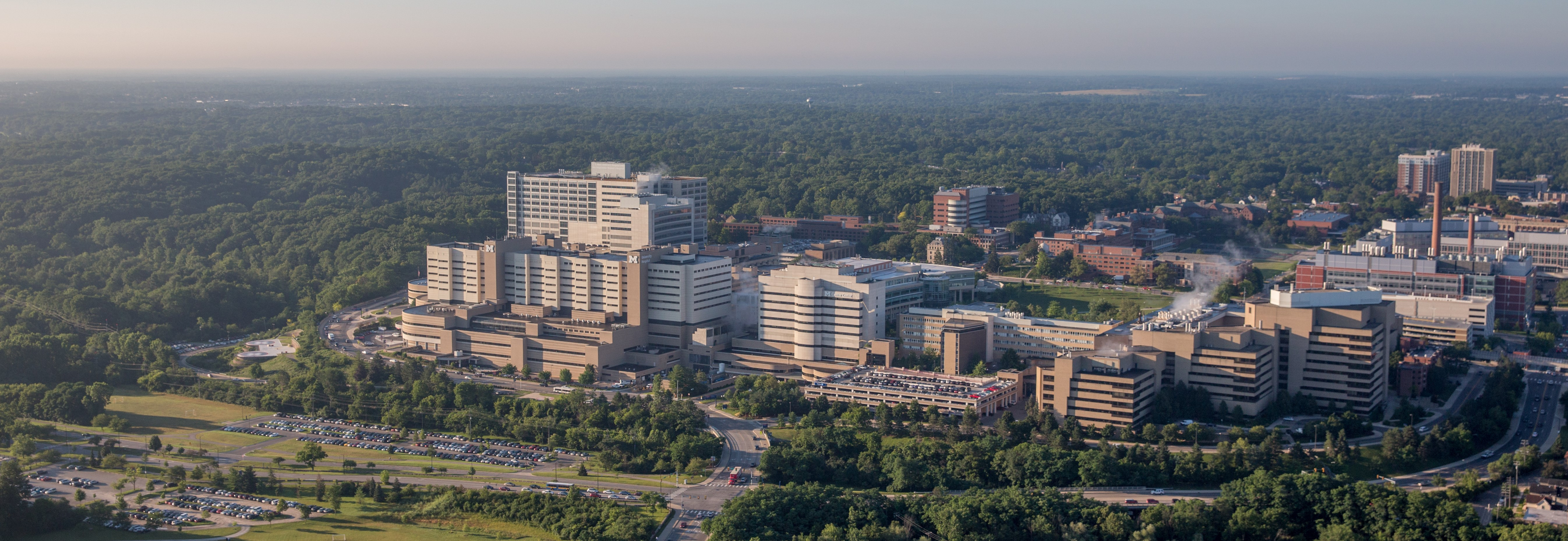 Aerial view of University of Michigan medical campus