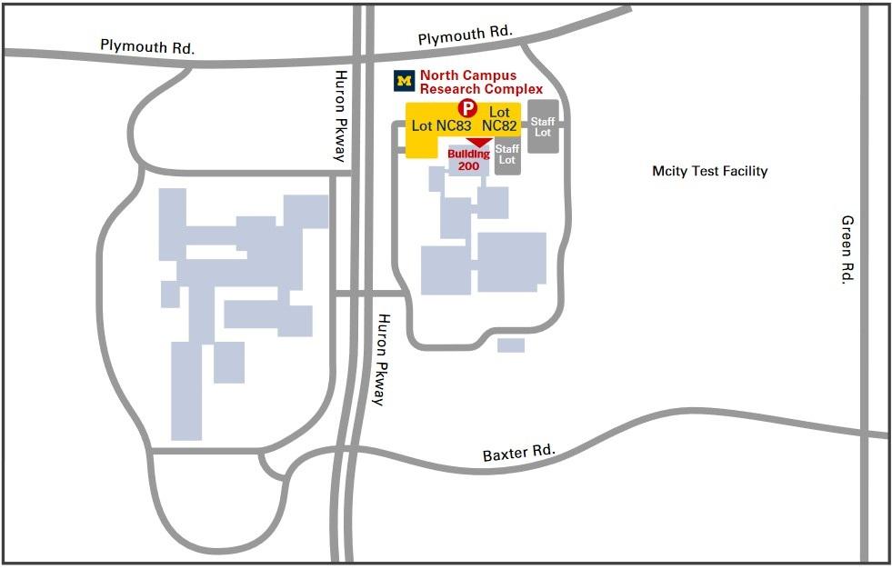 Map showing location of Michigan Medicine North Campus Research Complex (NCRC) COVID-19 vaccine clinic