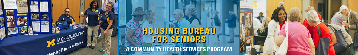 Three images of HBS volunteers at an HBS eventeith text reading: Housing Bureau for Seniors - A Community Health Services Program