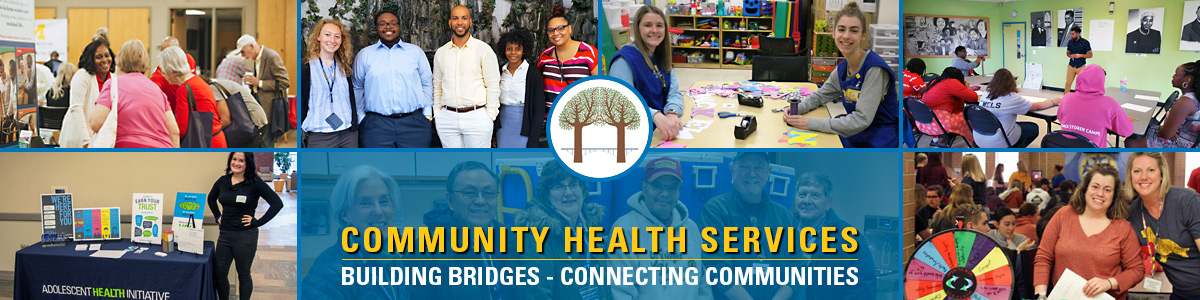 6 images showing Black and White children, teens and adults in various settings outside and inside with text reading Community Health Services, Building Bridges - Connecting Communities