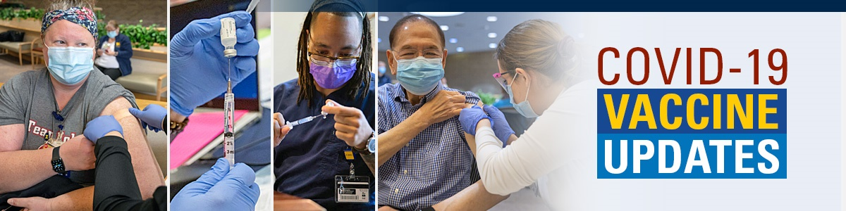 Collage of pictures of masked people giving and getting vaccines and image of blue gloved hands holding needle and vaccine bottle
