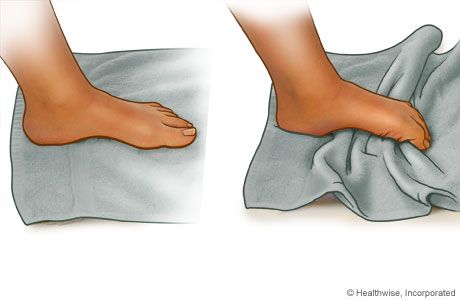 Towel curl exercise for the foot
