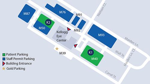 Parking map for Kellogg Eye Center in Ann Arbor