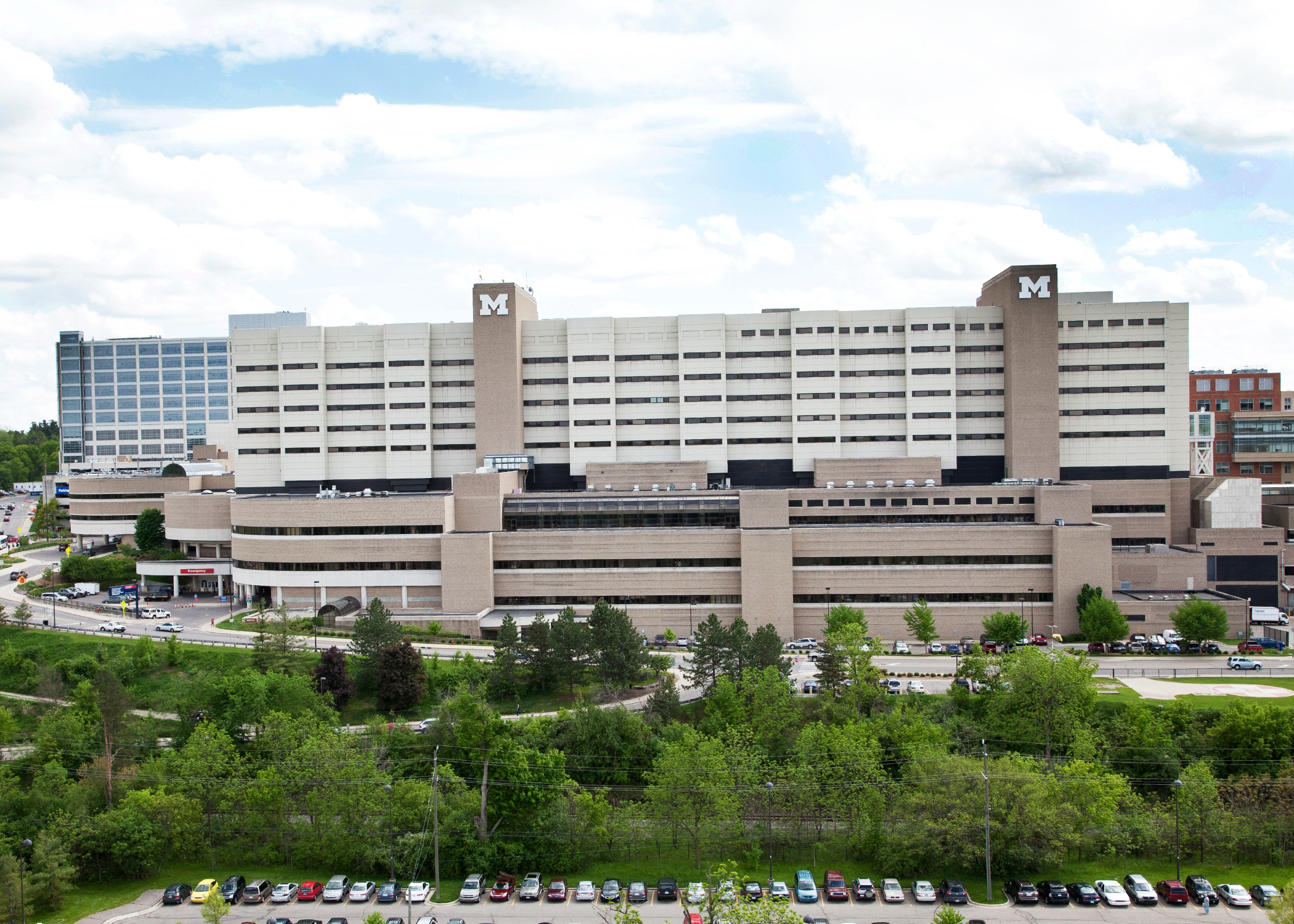 Image of University Hospital location, 1500 E. Medical Center Dr. Ann Arbor MI 48109, Phone 734-936-6641.