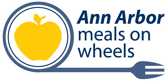 Ann Arbor meals on wheels logo, gold-colored apple surrounded by blue circle with line of circle extending into a fork at the bottom