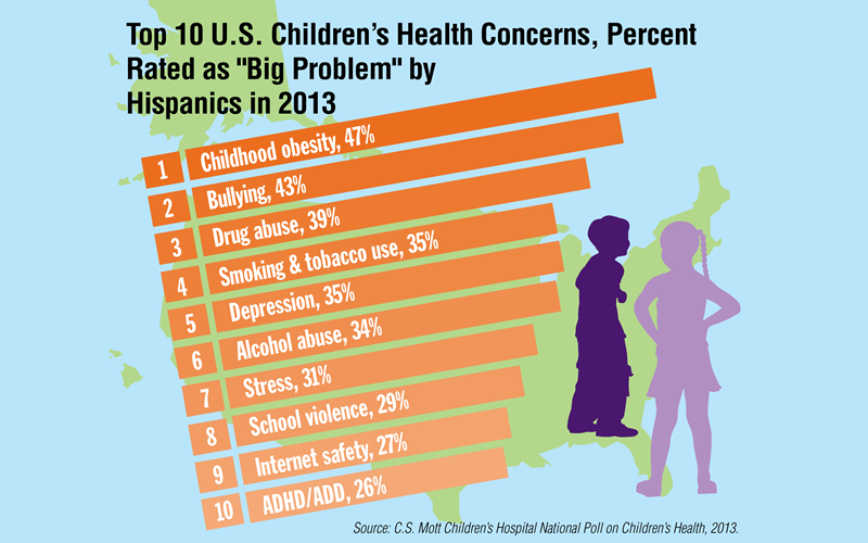 "National Poll of Children's Health: Top 10 US Children's Health Concerns,  Rated as ""Big Problem by Hispanics in 2013"