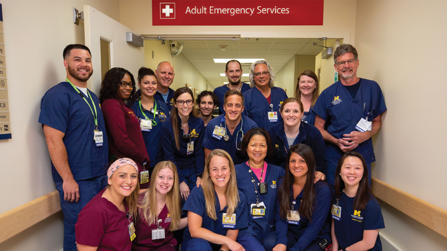 Group photo of Michigan Medicine Emergency Department nurses and clerks