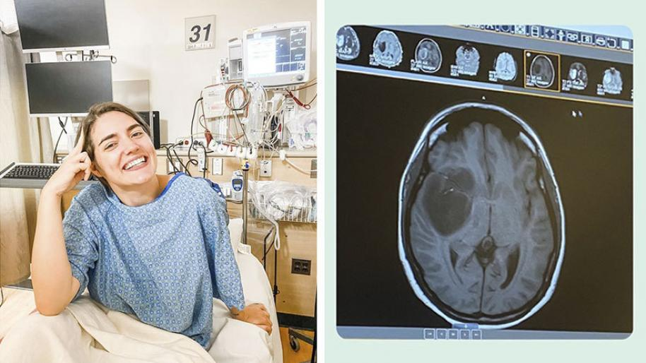Smiling white woman wearing hospital gown with hospital equipment behind and image of brain