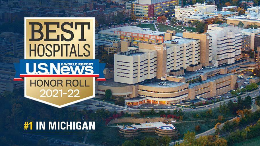 USNWR Best Hospital Badge overlaying a photo of Michigan Medicine medical complex