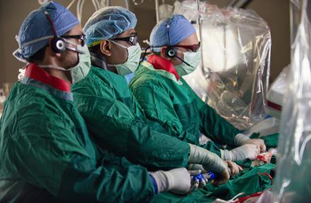 Cardiologists and surgeon in cath lab at University of Michigan