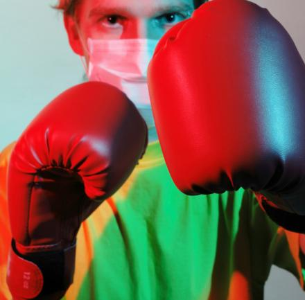 Doctor in boxing gloves