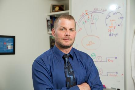 Dr. Gary Hammer stands in front of a white board