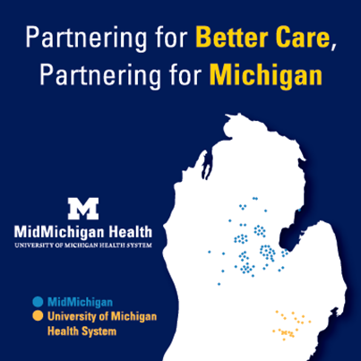 Image of Map of MidMichigan Health and UMHS locations