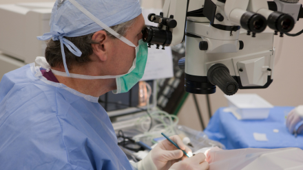 Ophthalmologist performs eye surgery.