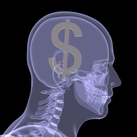 Illustration of brain with dollar sign