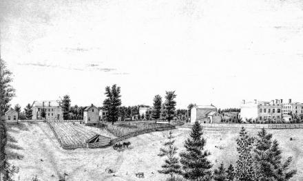 1855 sketch by Adeline B. Mead showing medical school and professor's house that became the first hospital