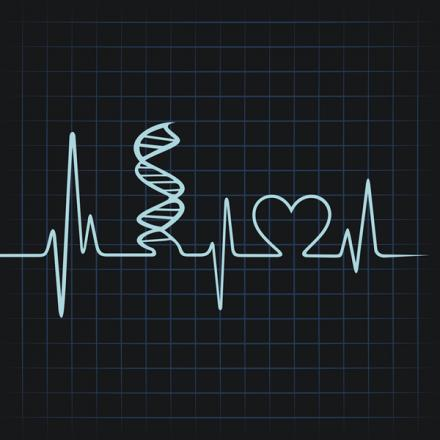 Illustration - DNA and heart on EKG