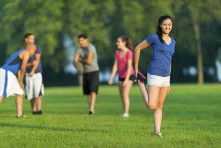 Teens exercising