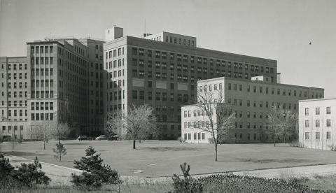 1939 old main from back showing surgical wing addition