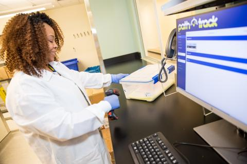 First specimen to be tested at pathology at NCRC