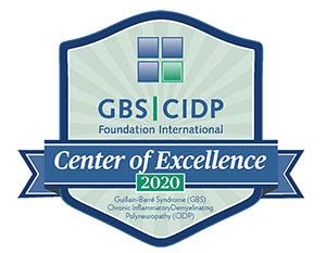 GBS | CIDP Foundation International Center of Excellence 2020 - Guillain Barre Syndrome (GBS) Chronic Inflammatory Demyelinating Polynuropathy (CIDP) - pale green shield with blue border and Center of Excellence 2020 text in blue banner across shield