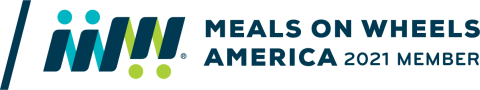 """Meals on Wheels logo with text """"Meals on Wheels America 2021 Member"""""""
