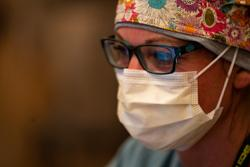 Medical worker wearing a mask