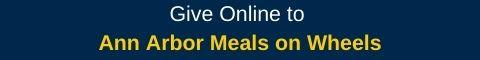 """Blue rectangle with words """"Give Online to Meals on Wheels"""" in white and gold"""