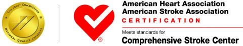 Joint Commission seal and American Heart Association certification for Comprehensive Stroke Center