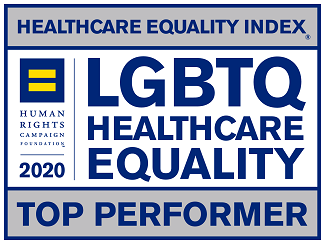 Healthcare Equality Index Top Performer graphic: Equals symbol above Human Rights Foundation 2019 with LGBTQ Healthcare Equality in center of block