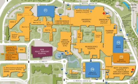 Map of new hospital location at Michigan Medicine