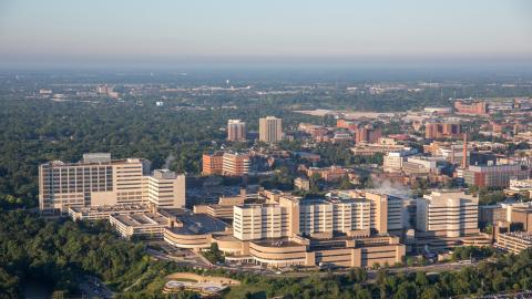 University of Michigan medical campus aerial view