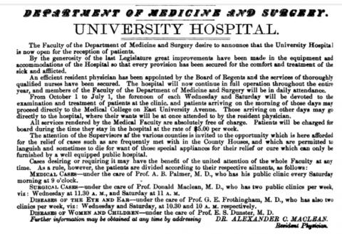 Hospital advertisement 1878