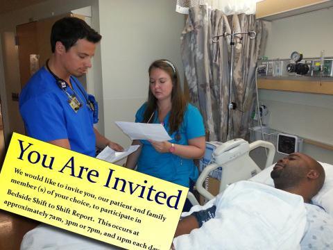 image of bedside shift report invite