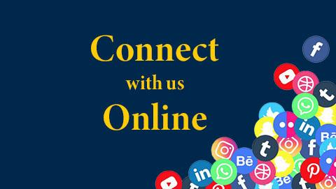 """Blue rectangle box with yellow letters that say """"Connect with us Online"""""""