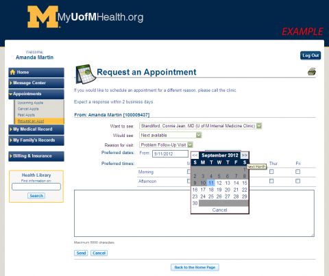 Image of Request an Appointment website