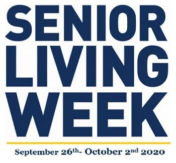 """Navy blue text """"Senior Living Week"""" with yellow line and """"September 26th - October 2nd 2020"""" underneath"""