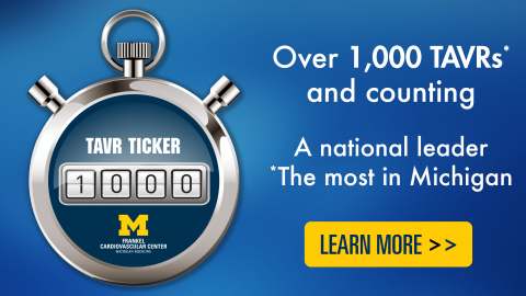 Over 1,0000 TAVRs and counting - a national leader, the most in Michigan - click to go to TAVR page