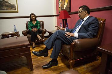 Dr. Senait Fisseha with Dr. Tedros Adhanom Ghebreyesus, Minister of Foreign Affairs of Ethiopia.
