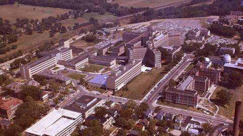 Aerial of the U-M medical campus, 1950s
