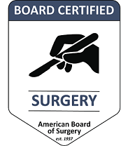 Graphic showing hand with scalpel and text: Board certified - Surgery - American Board of Surgery est. 1937