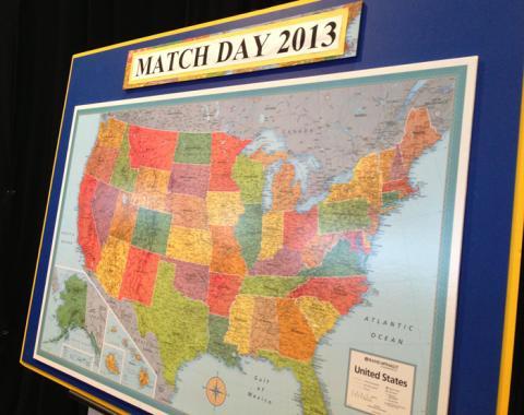 University of Michigan Medical School Match Day Map