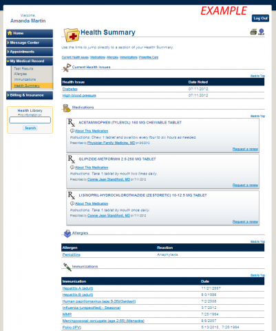 Sample page of MyUofMHealth.org patient portal