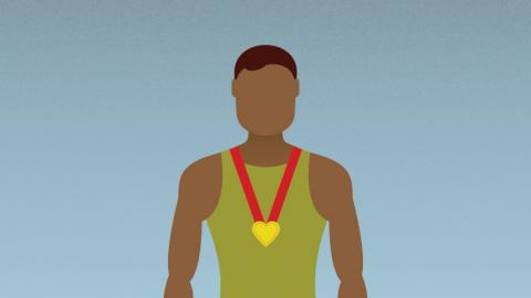 Simple illustration of athlete wearing heart-shaped medal