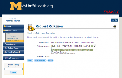 Image of Prescription Renewal Website
