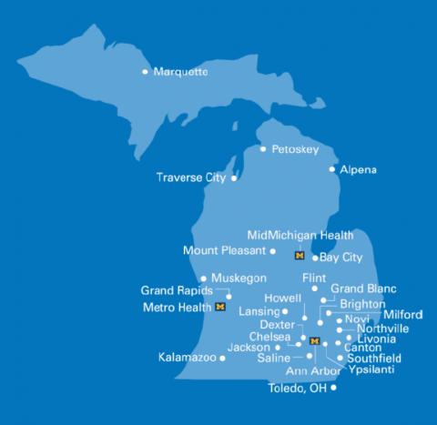 Michigan Medicine locations across Michigan